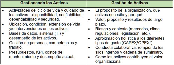 Tabla 1. Gestión de activos