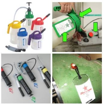 Ilustración 16 La utilización de recipientes y pistolas exclusivos y el uso de códigos de colores evita errores