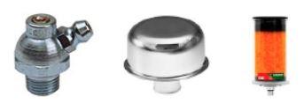 Ilustración 17 Accesorios de confiabilidad: grasera con válvula de alivio, respirador y filtro antihumedad