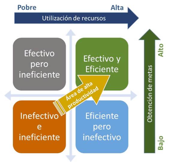Figura 1. Relación entre eficiencia, efectividad y productividad