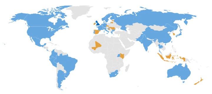 Imagen 3. Países con miembros participantes del TC251