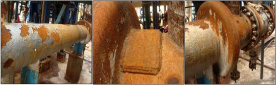 Fotografías 1, 2 y 3. Corrosión bajo aislamiento (CUI) en la superficie externa del intercambiador de calor.