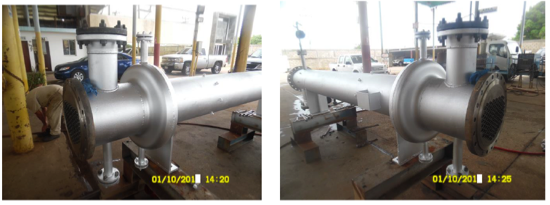 Fotografías  10 y 11. Reemplazo total de los componentes externos del intercambiador de calor HE-E101-A conservando el mismo haz tubular.