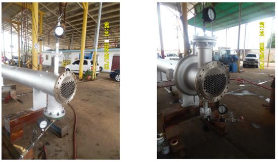 Fotografías 12 y 13. Intercambiador de calor HE-E101-A sometido a prueba hidrostática conservando el mismo haz tubular.