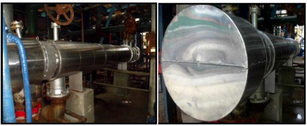 Fotografías 14 y 15. Intercambiadorde calor HE-E101-A instalado en su área de trabajo y aislado térmicamente.