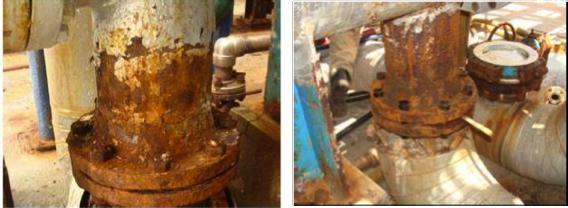 Fotografías 6 y 7. Corrosión atmosférica en componentes del intercambiador de calor.