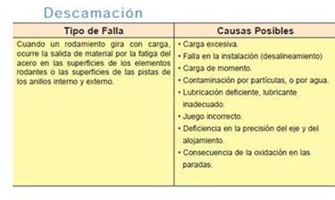 Figura 17. Análisis de la descamación en rodamientos