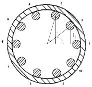 Figura 5. Parámetros para el Calculo del Momento Transversal de Inercia de la Zona Apernada - Posición Angular 1