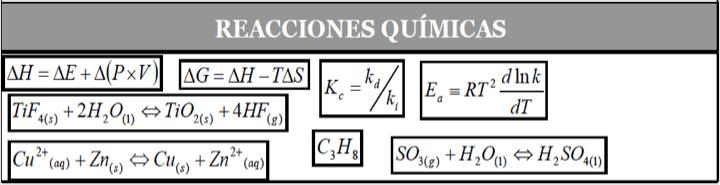 Figura 8 - Ecuaciones del fenómeno Reacciones Químicas