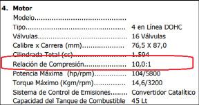 Fig. 1. Dato de la relación de compresión tomada del manual técnico del vehículo