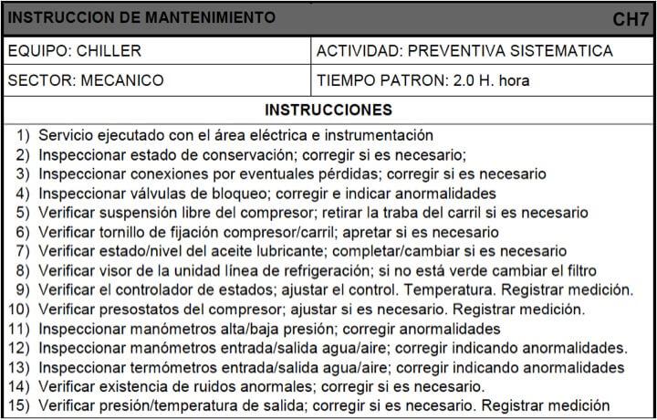 Figura 23 - Modelo de instrucción de mantenimiento