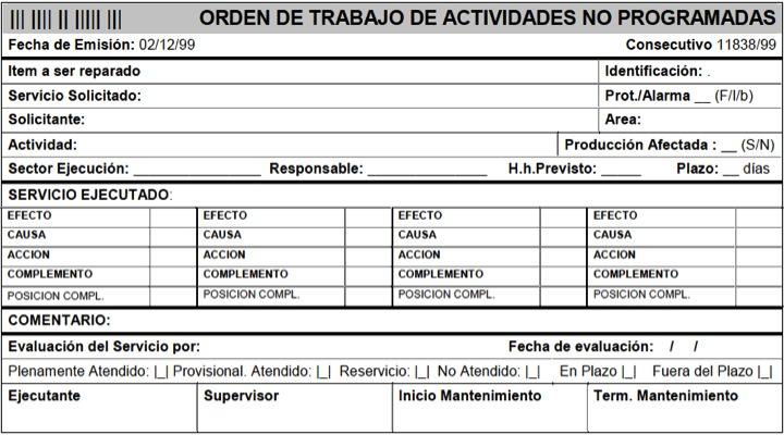 Figura 30 - Modelo de orden de trabajo para actividades no programadas