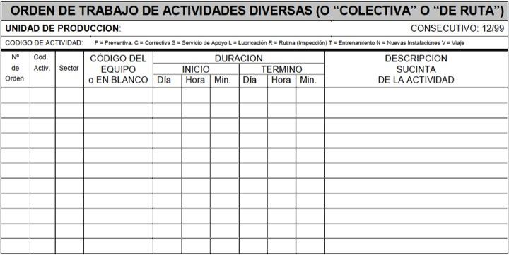 """Figura 31 - Orden de Trabajo de actividades diversas o """"colectiva"""" o """"de ruta"""""""
