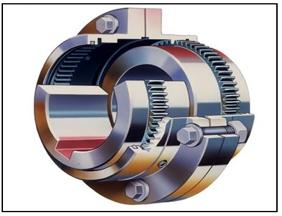 Figura N° 14-4.- Diagrama en corte de un acoplamiento metálico de engranajes.