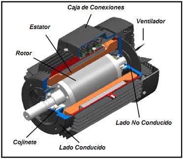 Figura N° 18-1.- Motor eléctrico en corte mostrando los componentes.